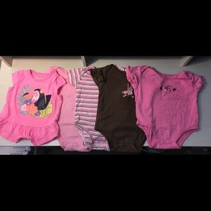 4 pc. Girls 9-12 month onesies & shirt
